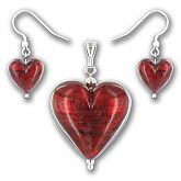 Murano Rubino Gold Lined Large Heart Set