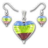 Murano Saphire Verde Amethyst Silver Lined Large Heart Set