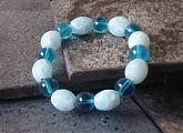 Capri Blue and Pale Blue Spots Stretch Bracelet