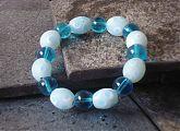 Capri Blue and Pale Blue Spots Stretch Bracelet