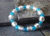 Silver Foil and Blue Crackle Glass Stretch Bracelet