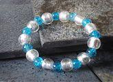 Silver Foil and Blue Crackle Glass Stretch Bracelet
