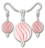 Pink Candy Stripe Hand Blown Glass Disk Pendant Set