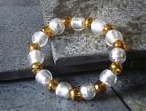 Silver Foil and Topaz Gold Swirl Stretch Bracelet