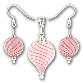 Pink Candy Stripe Hand Blown Glass Heart Set