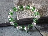 Green Clear Silver Swirl Stretch Bracelet