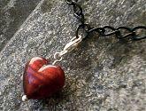Rubino Red Murano Glass Heart Clip On Bracelet Charm