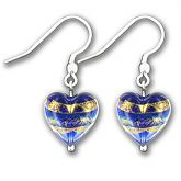 Murano Sapphire Gold Leaf Band Heart Earrings