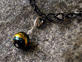 Black Gold Turquoise Swirl Glass Bracelet Charm
