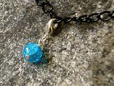 Blue Crackle Glass Bracelet Charm