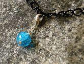 Blue Crackle Glass Bracelet Charm
