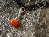Orange Cats Eye Glass Bracelet Charm