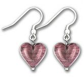 Murano Dark Amethyst Silver Lined Heart Earrings