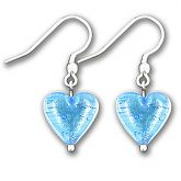 Murano Dark Aquamarine Silver Lined Heart Earrings