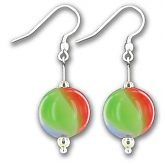 Hand Blown Harlequin Ball Earings