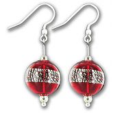 Hand Blown Red & Silver Christmas Bauble Ball Earrings