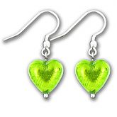 Murano Verde Erba Silver Lined Heart Earrings