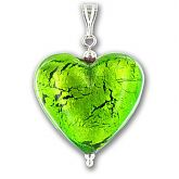 Murano Verde Erba Silver Lined Large Heart Pendant