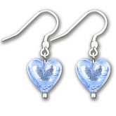 Murano Saphire Silver Lined Heart Earrings