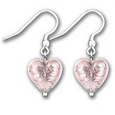 Murano Light Amethyst Silver Lined Heart Earrings