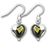Murano Midnight Treasure Heart Earrings