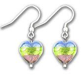 Murano Saphire Verde Amethyst Silver Lined Heart Earrings