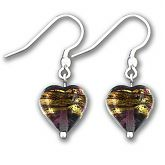 Murano Amethyst Gold Band Heart Earrings
