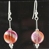 Hand Blown Orange Swirl Yellow Stripe Ball Earrings