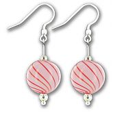 Hand Blown Pink Candy Stripe Ball Earrings