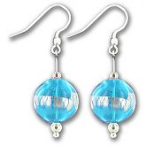 Hand Blown Capri Silver Ball Earrings