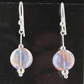 Hand Blown Peach Light Blue Stripe Ball Earrings