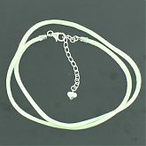 Pale Green Satin Cord With Sterling Silver Extender Chain